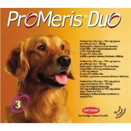 "ProMeris DUO ""L"" (25,1 - 40kg) - Fort Dodge - 5,33 ml x 3 pipete antiparazitare pentru caini"